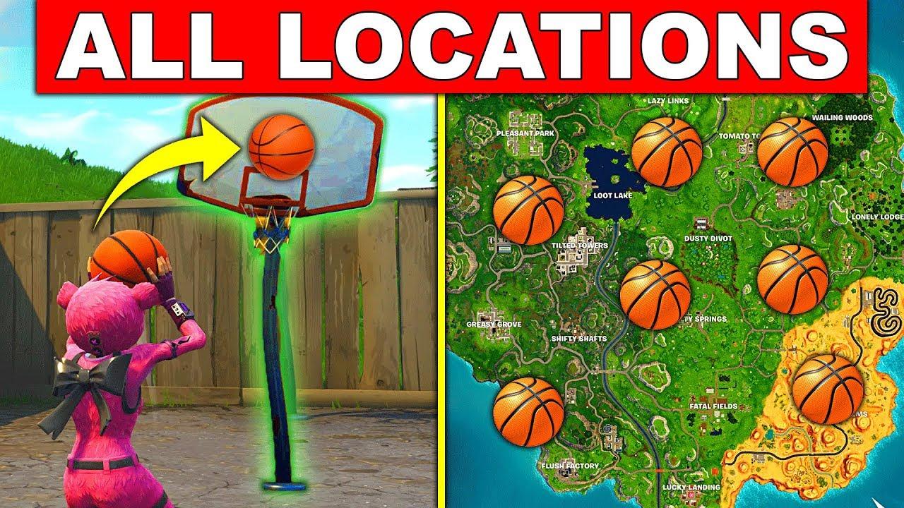 score a basket on different hoops all locations fortnite week 2 season 5 challenges basketball - panier de basket fortnite saison 5