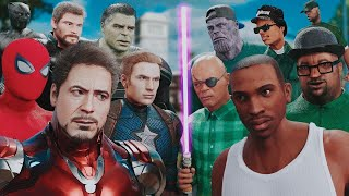 THE AVENGERS vs. GROVE STREET  (MARVEL vs. GTA SAN ANDREAS) - EPIC BATTLE