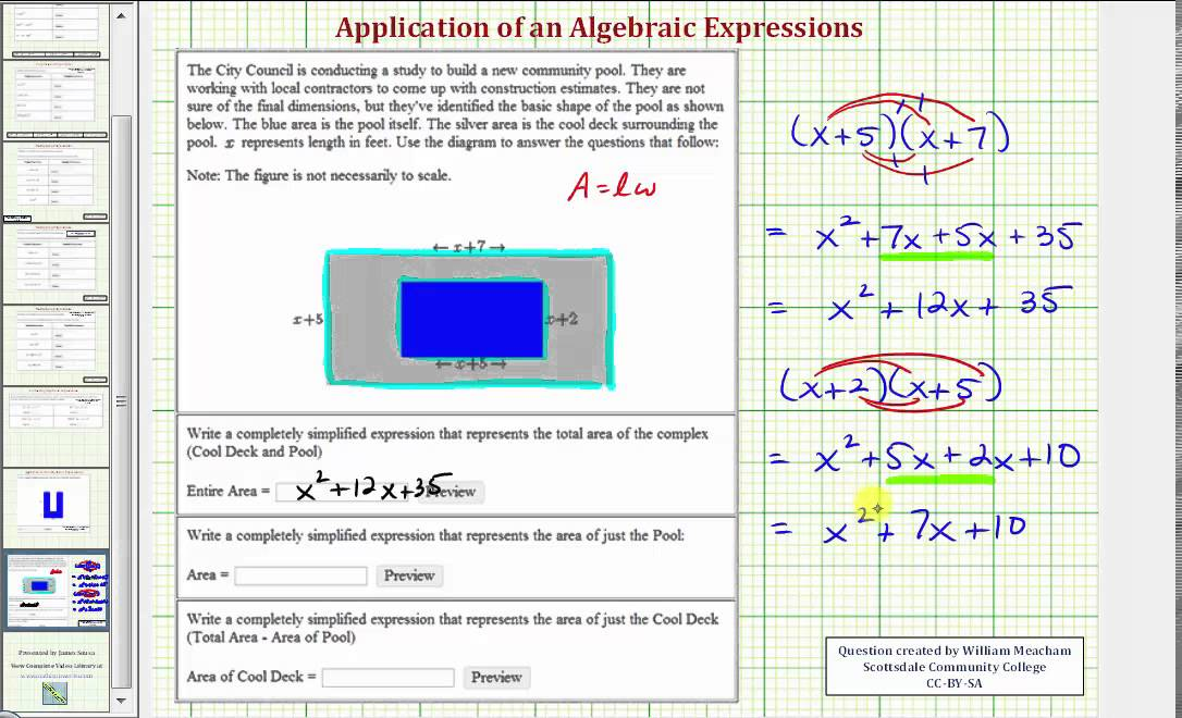 Ex Find A Polynomial Expression For Area Of Rectangles Pool