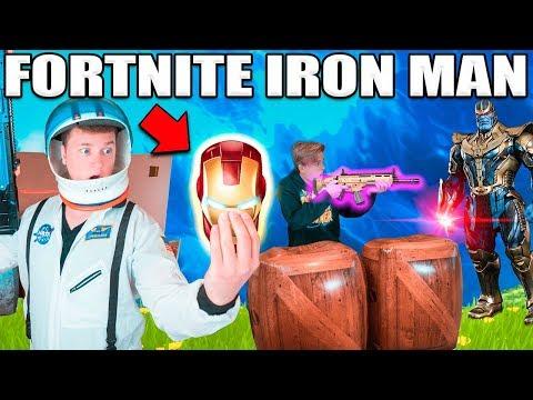 FORTNITE BOX FORT BATTLE IRL!!  Thanos Vs Iron Man