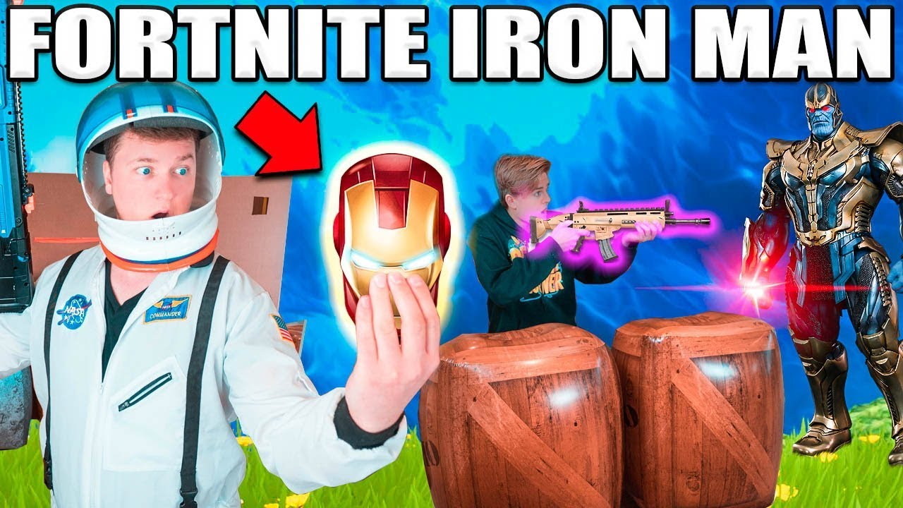 FORTNITE BOX FORT BATTLE IRL!! 📦⛏ Thanos Vs Iron Man - YouTube