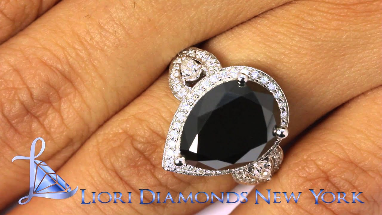 Bdr Sold 010 6 03 Carat Pear Shape Black Diamond Engagement Ring 18k White Gold Vintage Style Youtube