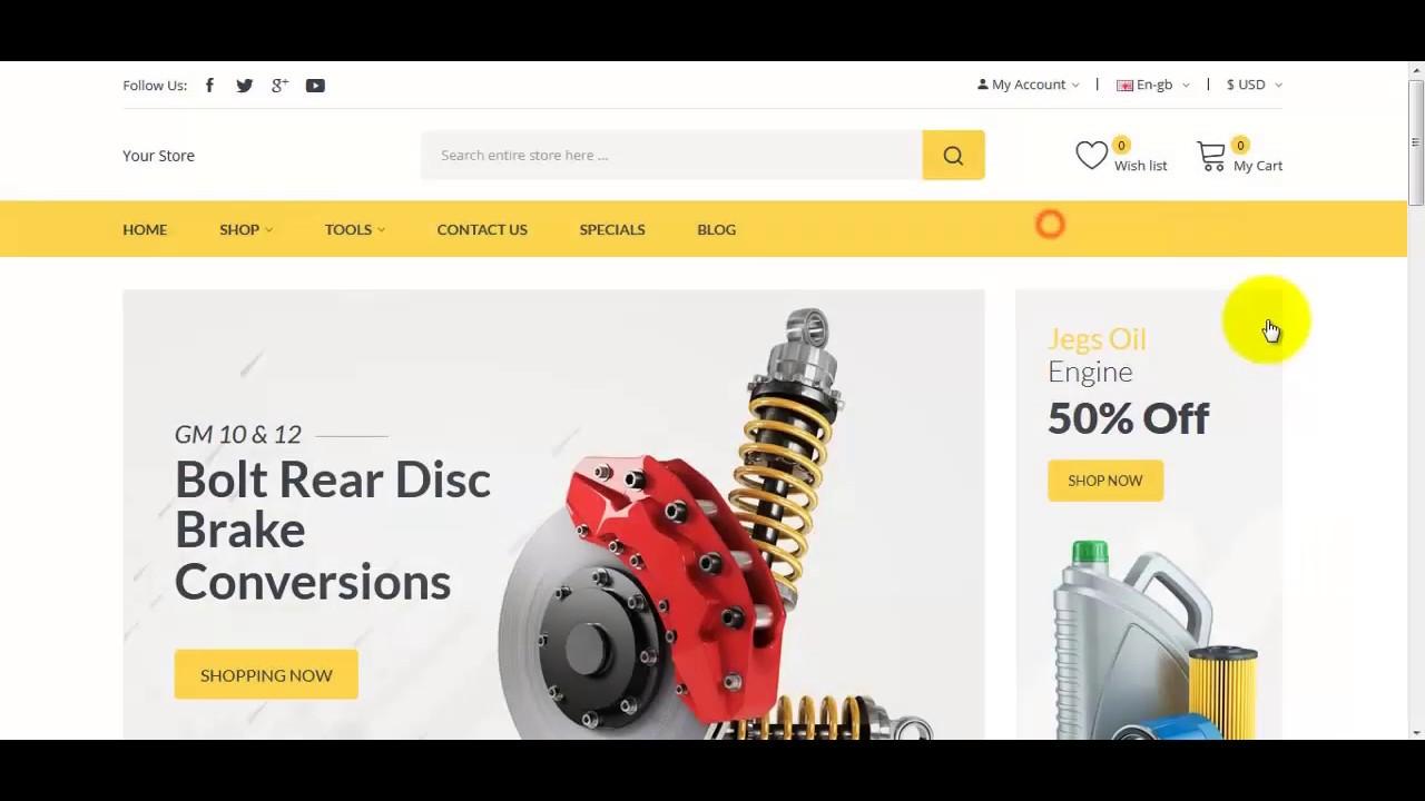 How to install Autima auto parts opencart theme