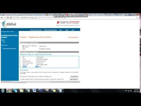 How to check Singapore SPASS EPASS Status in EP Online WebSite