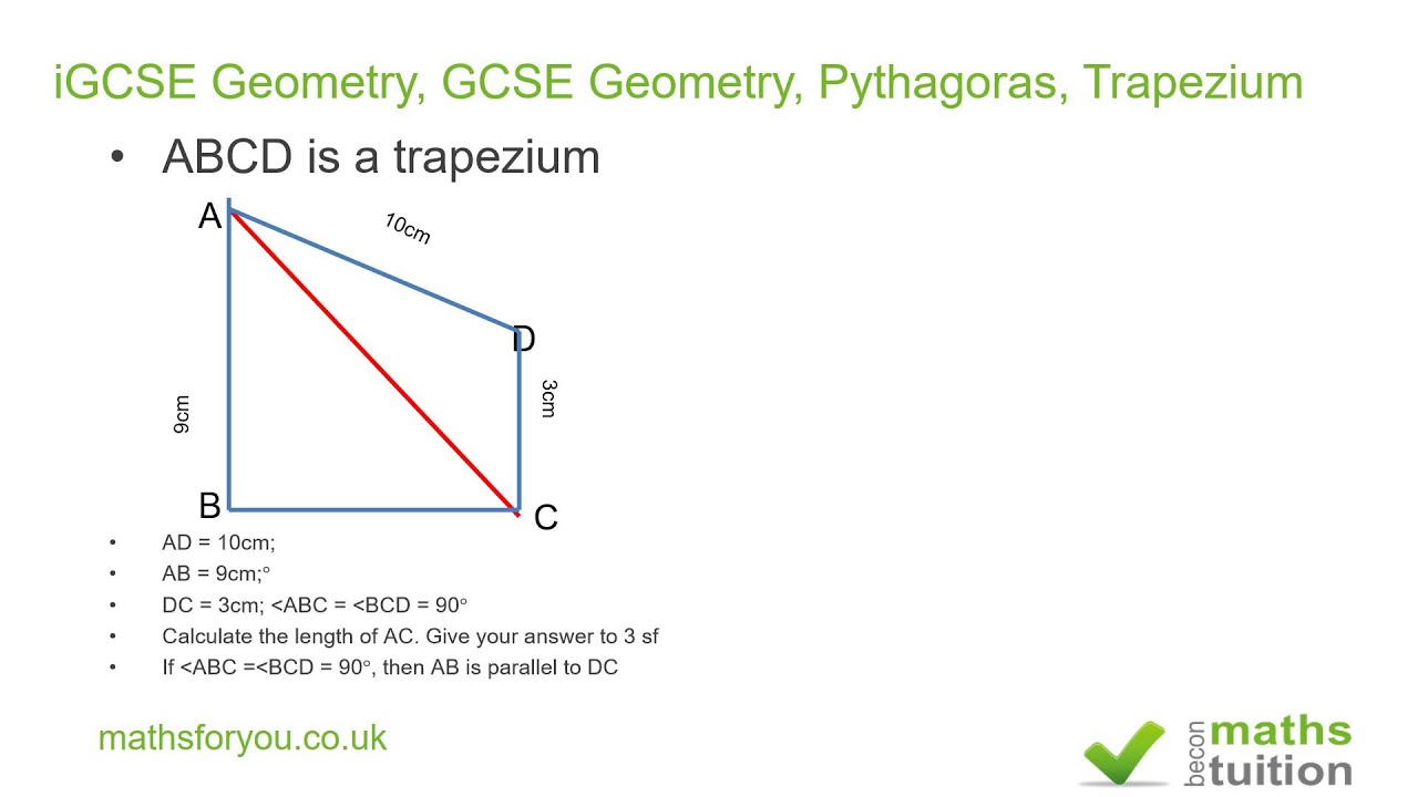 how to find the length of a trapezium