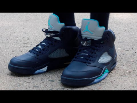 On Feet MidNight Navy Jordan 5 Retro Sneaker Featured Look - YouTube a2ef48f5c
