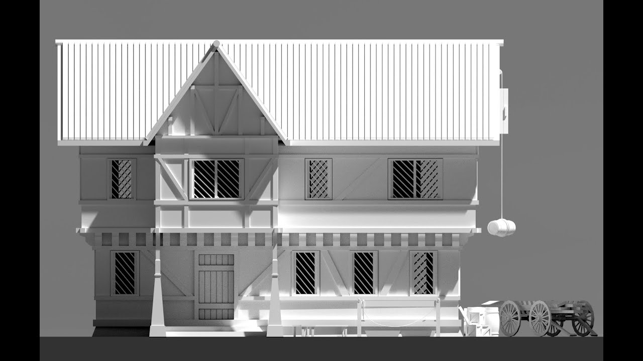 Blender 3d speed modeling rpg house exterior youtube for Exterior 3d model