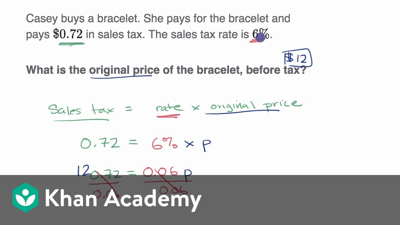 Percent word problems: tax and discount (video)   Khan Academy [ 720 x 1280 Pixel ]