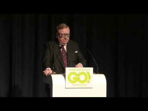 Simon Heffer speaking at the Grassroots Out event in Manchester