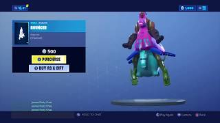 A Llama on a Bouncer -- Only in Fortnite! (Giddy-Up Skin riding Bouncer Emote in-game)