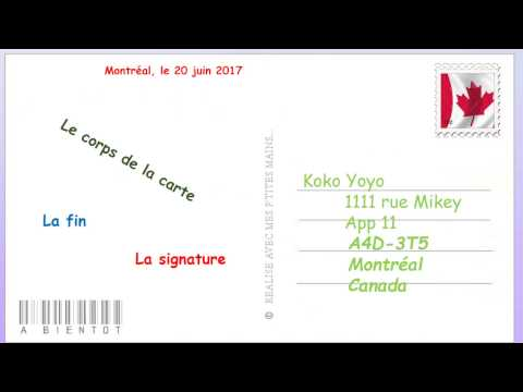 Comment écrire une Carte Postal.( French and English version)