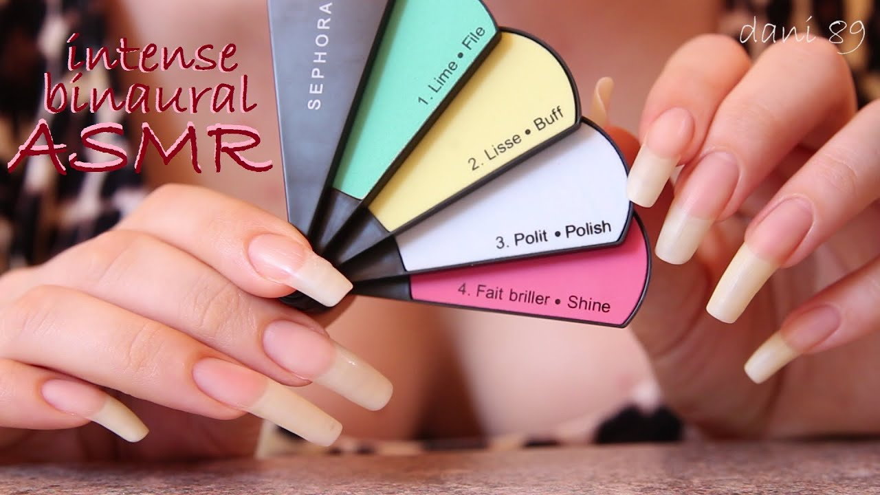 ▷ ASMR 🎧 new nail file! Tapping plastic ☆ Sounds of natural long ...