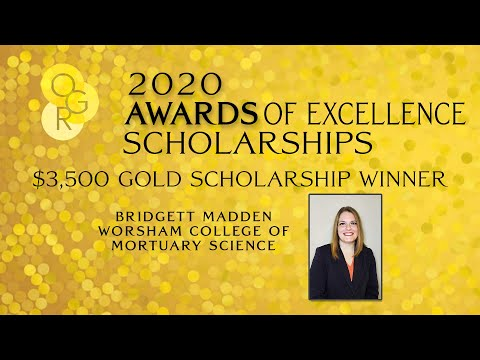 2020 Gold Scholarship Winner: Bridgett Madden, Worsham College of Mortuary Science