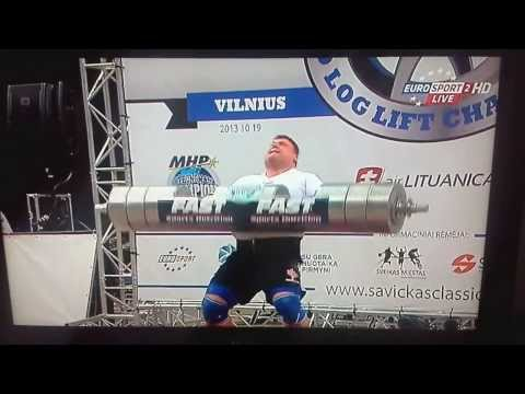 Soviet strong man Zydrunas Savickas, new World Record Log Press, 490Lb