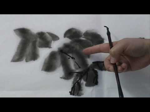 How to Paint Grape Leaves in an Ancient Style Chinese Mop Brush (1/2)