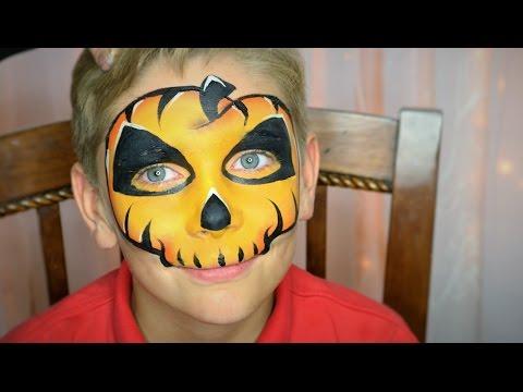 Easy Pumpkin Skull Face Paint / Makeup