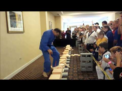 USBA/WBA World Record- James Trinka- 154 1″ boards with stomps in 30 seconds- 8/2014