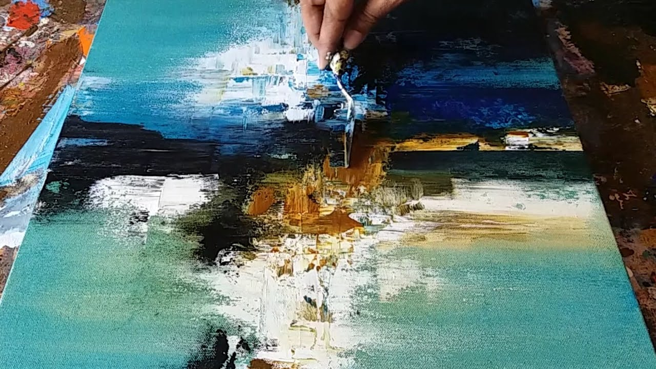 Abstract Painting Demonstration Of Abstract Painting In Acrylics Palette Knife