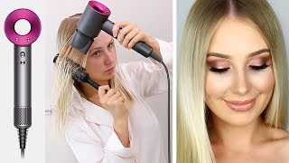 DYSON SUPERSONIC hair dryer Review & GRWM: Night Out! | Lauren Curtis