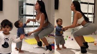 La novia de Cristiano Ronaldo, Georgina Rodríguez baila con sus hijos Mateo y Eva