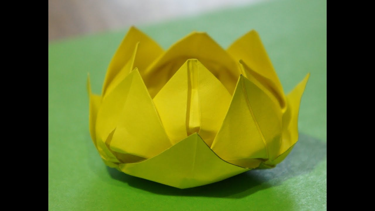 Step by step origami for beginners water lily lotus flower youtube youtube premium mightylinksfo