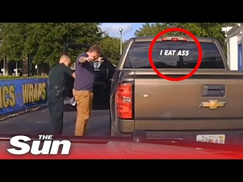"Man arrested for ""I EAT ASS"" bumper sticker"
