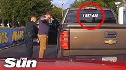 """Man arrested for """"I EAT ASS"""" bumper sticker"""