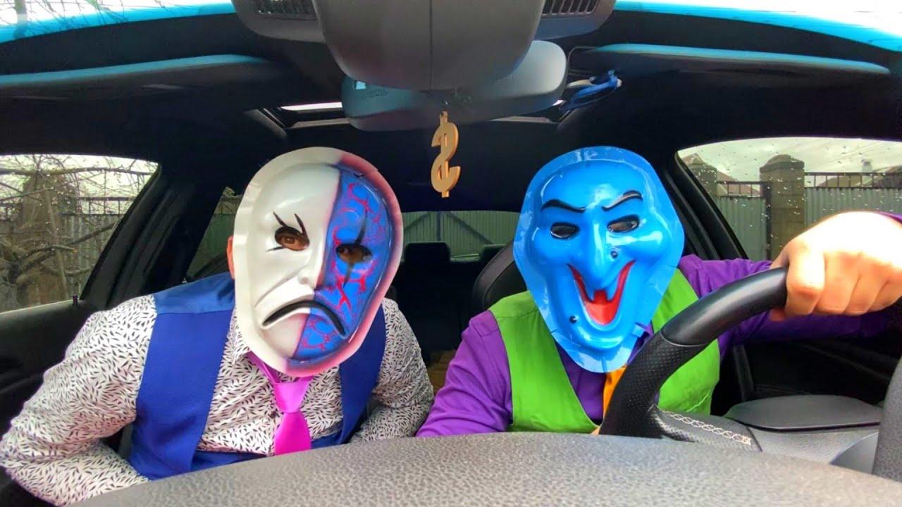 Racer Mr. Joker & Mr. Joe on Camaro Found Scary Masks & Participate in Fun Races 13+