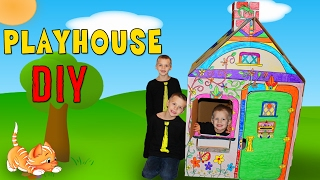 Kids DIY Cardboard Box House Playtime