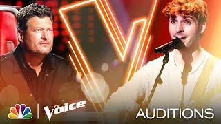 """Sam Stacy's Intimate Performance of James Taylor's """"Fire and Rain"""" - The Voice Blind Auditions 2020"""