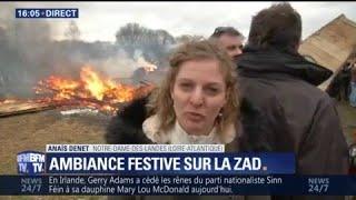 Un avion en bois brûlé sur la ZAD de Notre-Dame-des-Landes contre le projet d'aéroport