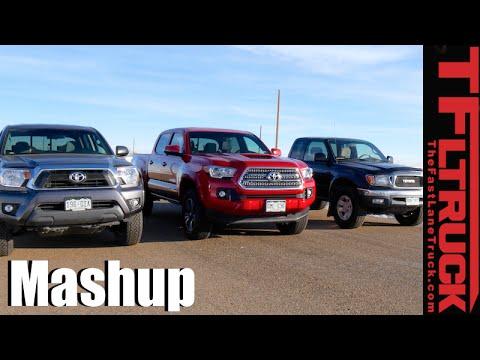 1st vs 2nd vs 3rd Gen Toyota Tacoma Drag Race & Mega Mashup Review
