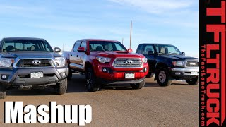 1st vs 2nd vs 3rd Gen Toyota Tacoma Drag Race & Mega Mashup Review