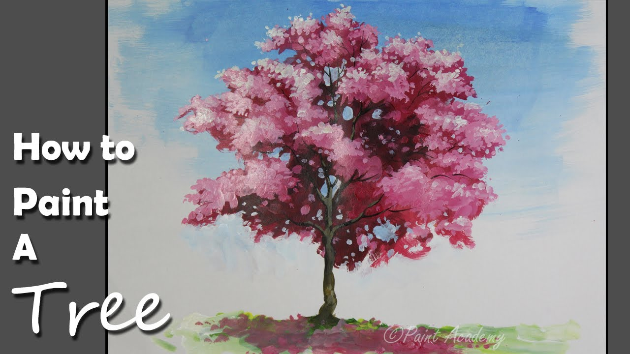 how to paint a cherry blossom tree in acrylic youtube. Black Bedroom Furniture Sets. Home Design Ideas