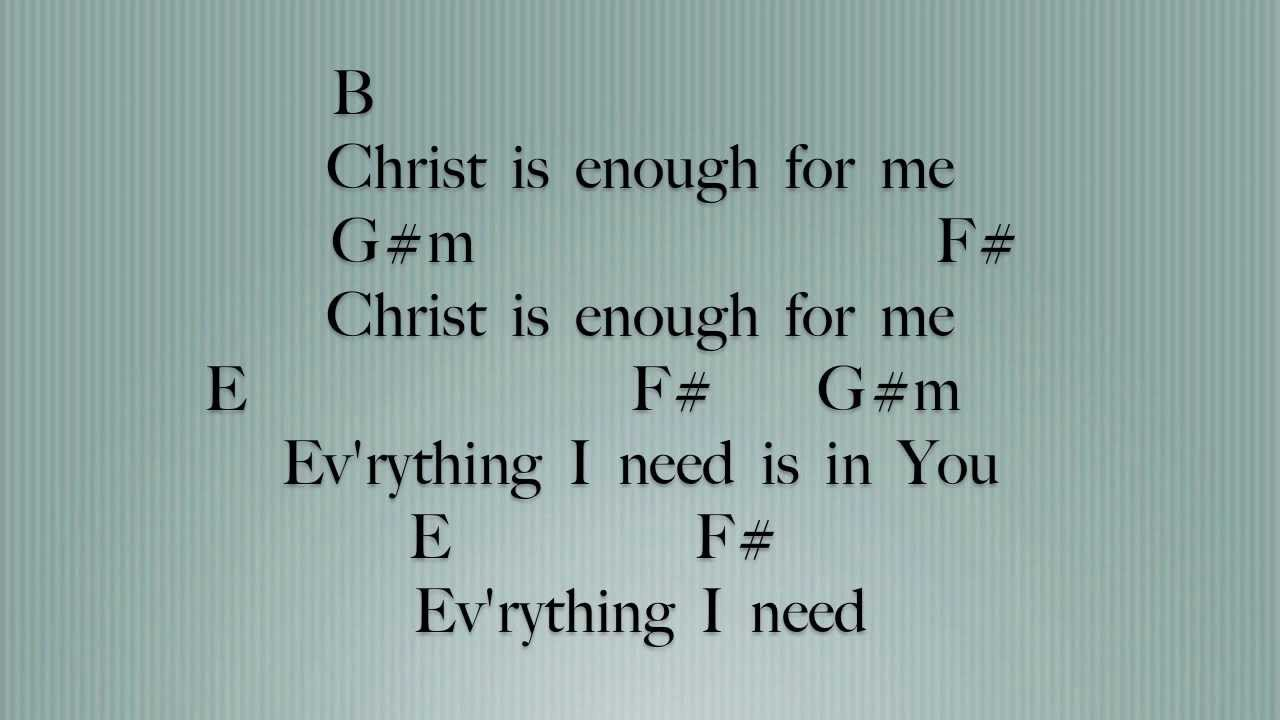 christ is enough lyrics and chords pdf