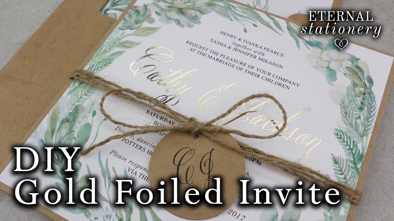 diy gold foil wedding invitations rustic watercolour succulents