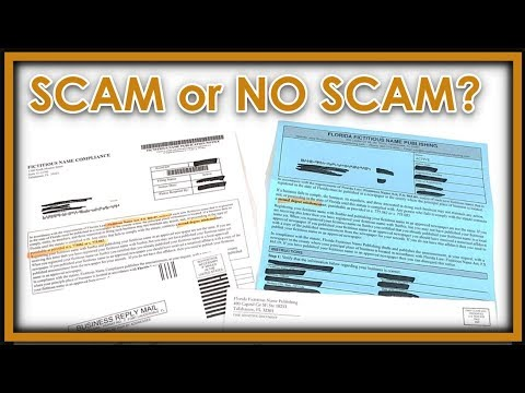 Florida Fictitious Name Publishing / Fictitious Name Compliance /Florida Statute 865.09 SCAM OR NOT?