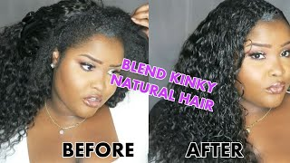 How to blend your natural hair with curly weave or synthetic hair (SHINGLING METHOD + NO HEAT)