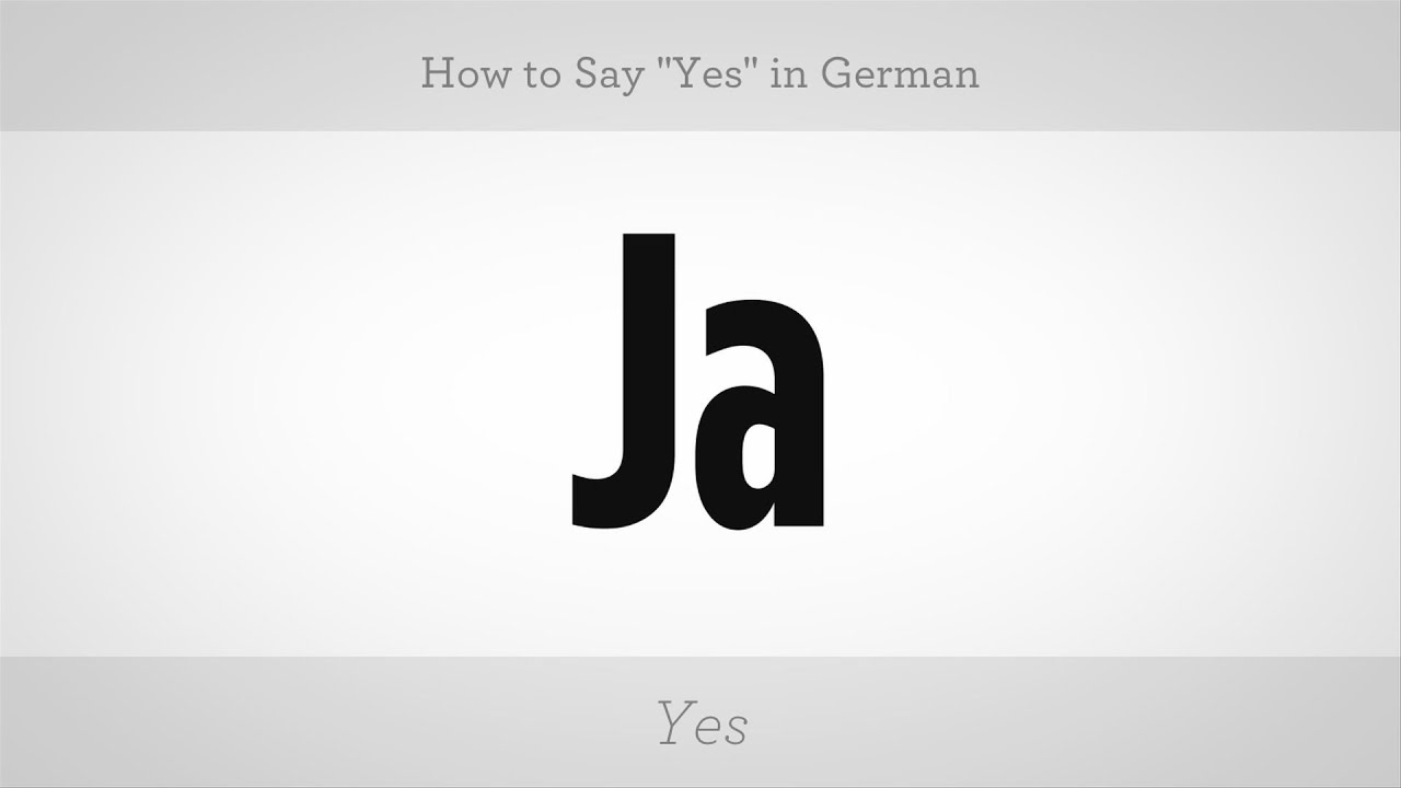 How To Say Yes In German German Lessons Youtube