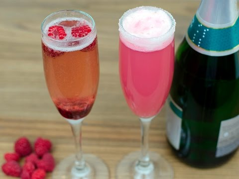 New Years Raspberry Pomegranate Champagne Cocktail And Raspberry Sherbet Mocktail