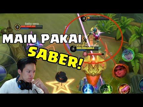 NYOBAIN PAKE SABERRR BIAR KYK PRO PLAYER! GIVEAWAY SKIN GRATIS? MOBILE LEGENDS INDONESIA!