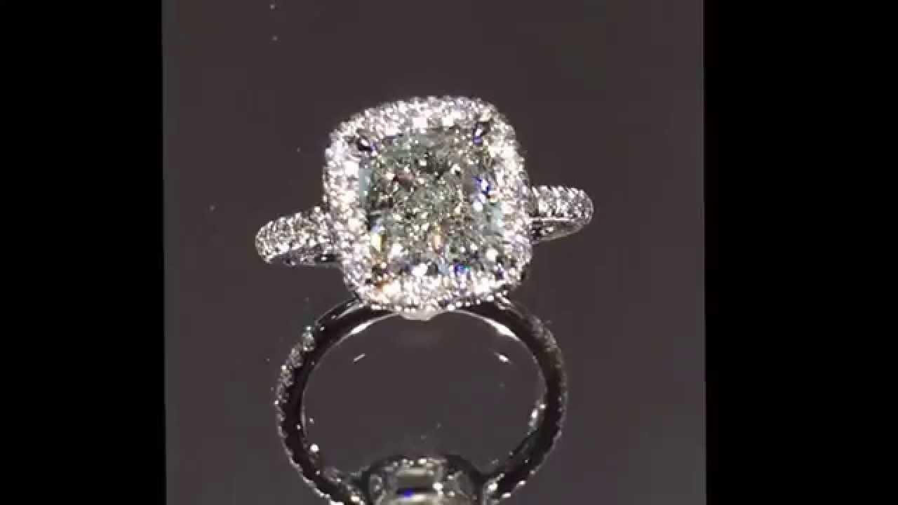 19 carat cushion cut diamond engagement ring with raised