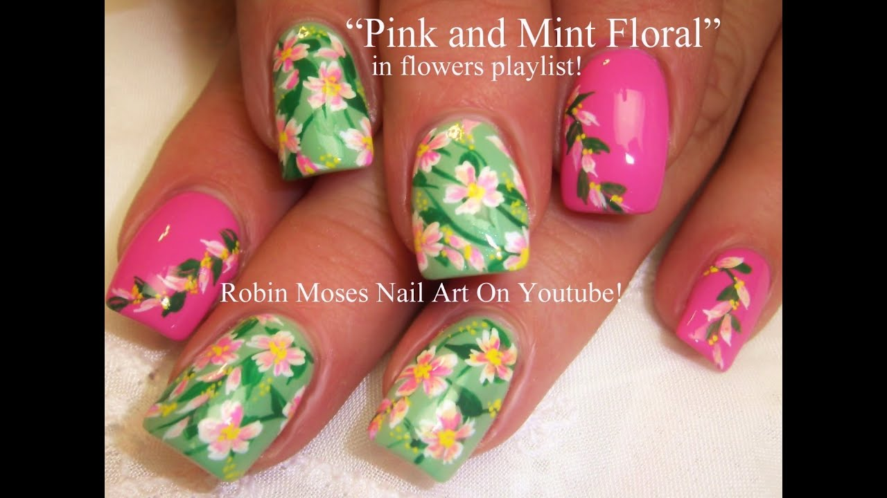 easy spring flower nails pastel