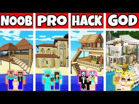 Minecraft: FAMILY PARADISE BEACH HOUSE BUILD CHALLENGE - NOOB vs PRO vs HACKER vs GOD in Minecraft