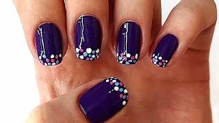 Цветной френч маникюр на коротких ногтях с дизайном