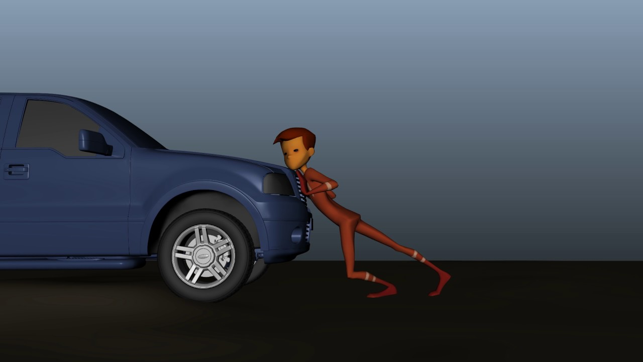 pushing car animation youtube