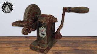Hand Cranked Grinder Restoration - Antique Bench Grinder [4K]