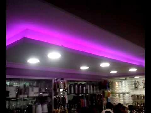 Luz led rgb techo en drywall youtube - Plafones de techo led ...