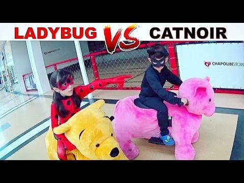 MIRACULOUS LADYBUG vs CAT NOIR NA CORRIDA DE BICHINHOS ★ Diversão no Shopping (FT. CANAL DO DUDU)