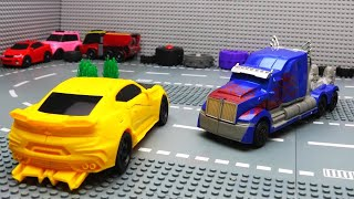 Top 10 Cars - Lego Bank Robbery & Police Car for kids | Transformers Bumblebee vs Optimus Prime | Videos for kids